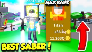 GETTING THE MOST EXPENSIVE SABER AND BECOMING MAX RANK IN SABER SIMULATOR UPDATE!! (Roblox)