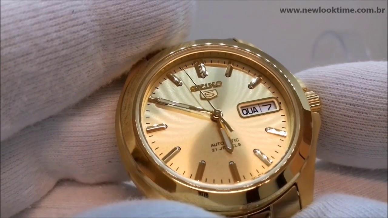 7768a4261c9 Relógio SEIKO Automático Dourado SNKK98B1 C1KX - NLTime - YouTube