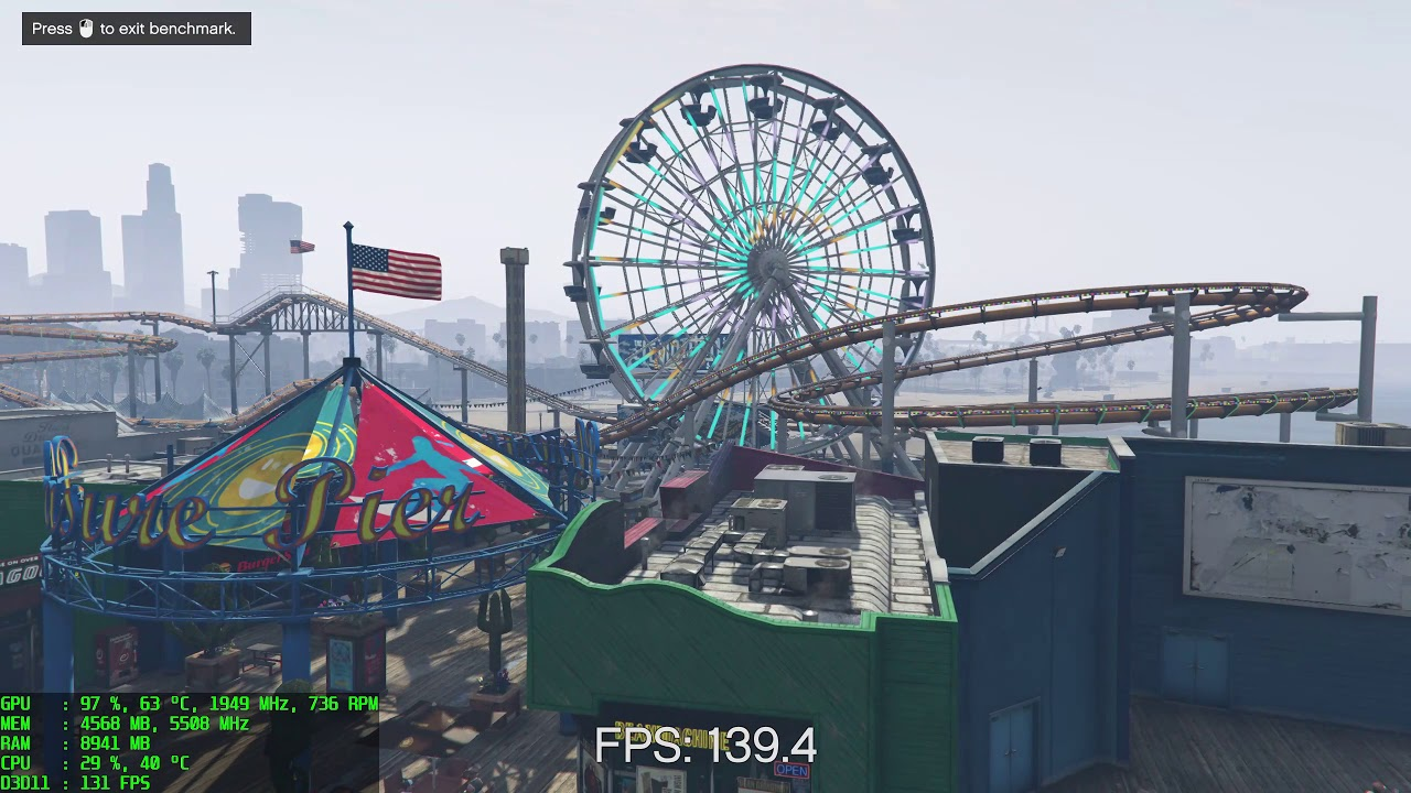 GTA 5 Benchmark - 1080 Ti - i9-7900X - Max Settings - 1440p