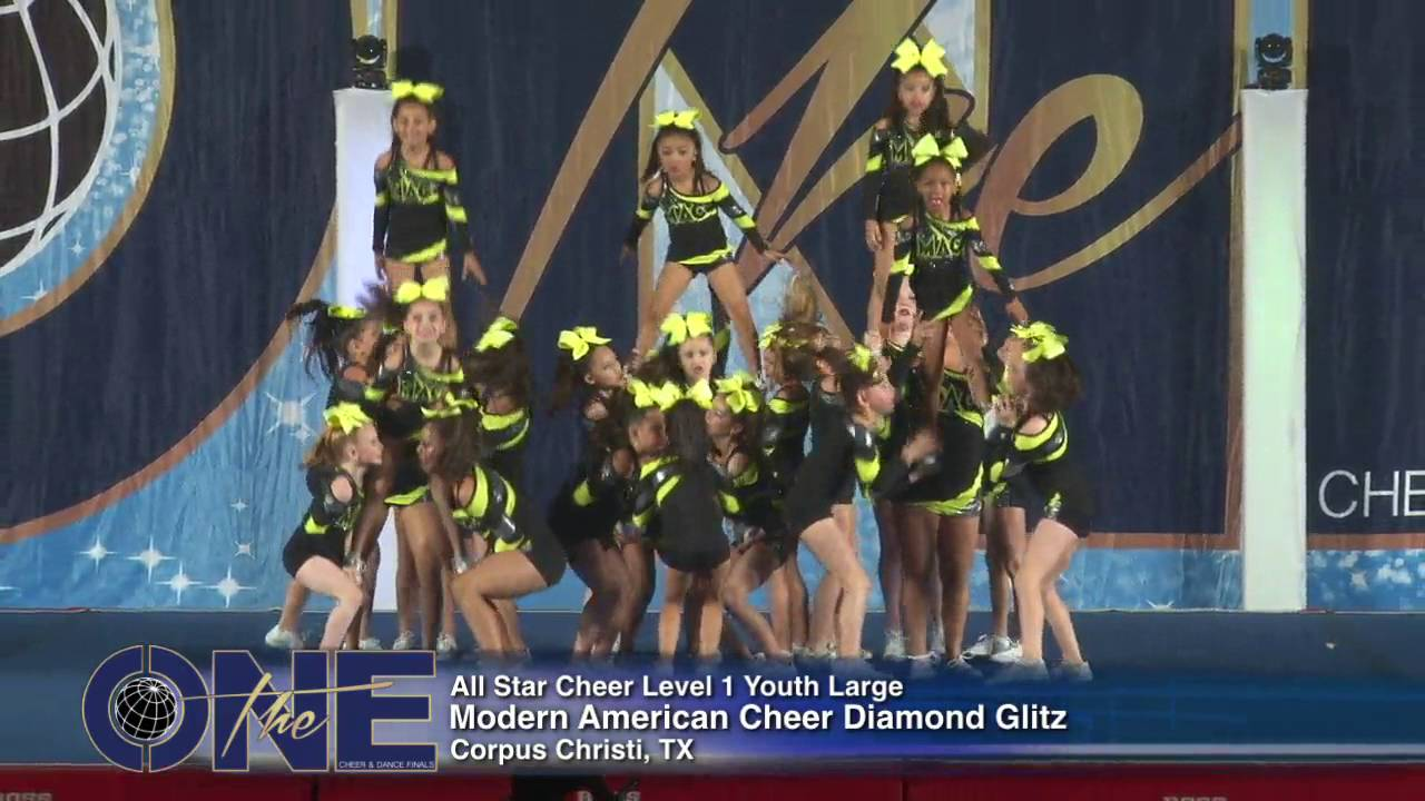 Modern American Cheer Diamond Glitz   All Star Cheer Level 1 Youth Large 2016 THE ONE FINALS