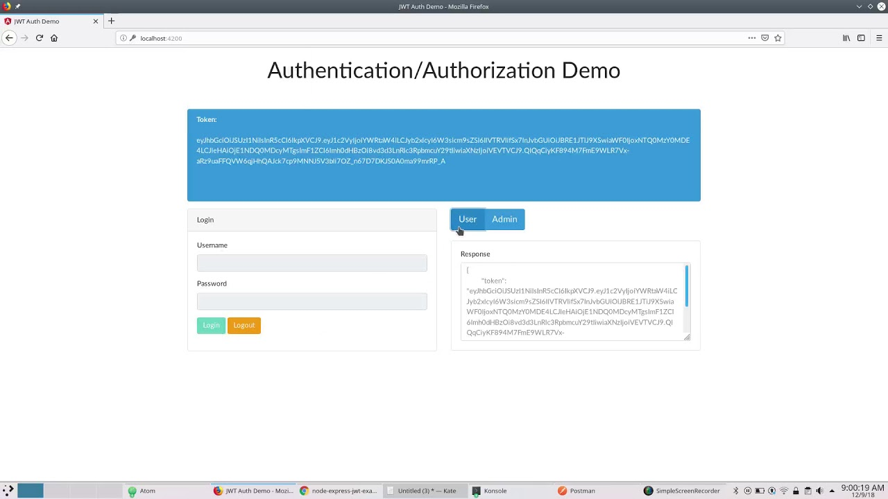 Node Express Jwt Authentication / Authorization Demo