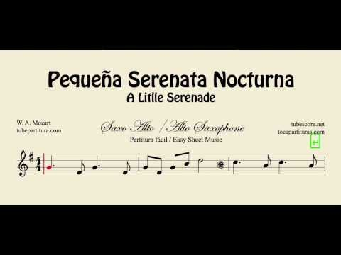 A Little Night Music Easy Sheet Music for Alto Saxophone Pequeña Serenata Nocturna