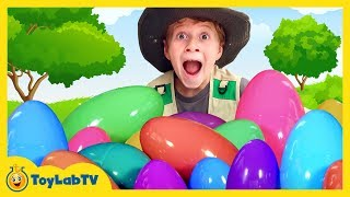 Easter Egg Search for Giant Surprise Eggs with Toys in Family Fun Kids Video