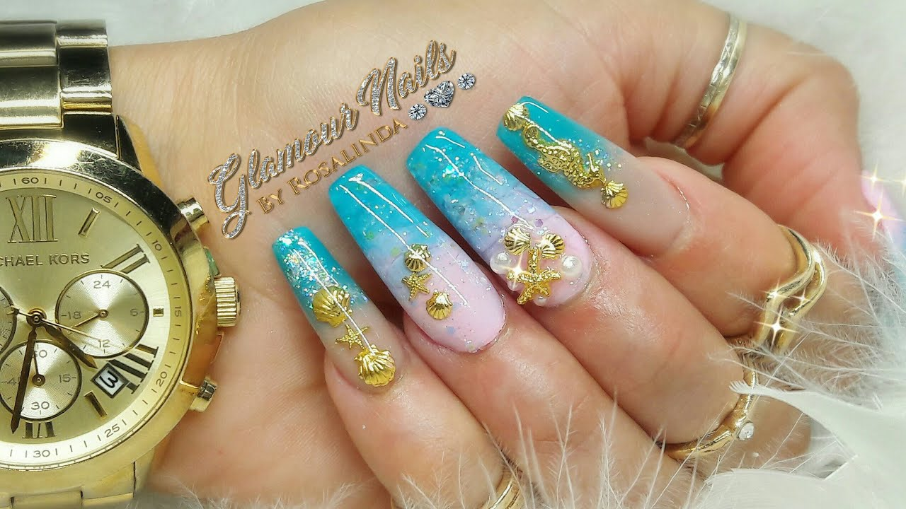 Uñas de sirena muy playeras / bajo relieve/ Summer nails ...