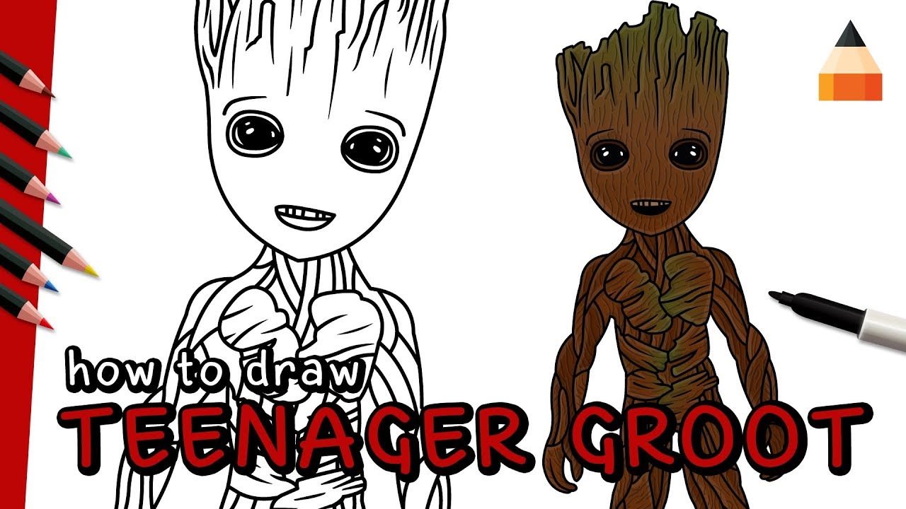 How To Draw Groot Groot Drawing Guardians Of The