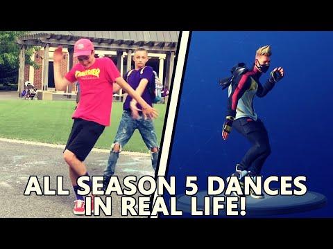 ALL FORTNITE SEASON 5 DANCES IN REAL LIFE! *Swipe it, Gentlemans dab, Breakdown*