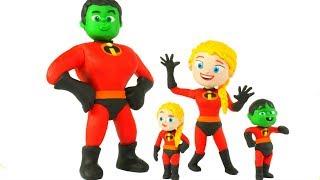 SUPERHERO BABIES WEAR THE INCREDIBLES SUITS ❤ SUPERHERO PLAY DOH CARTOONS FOR KIDS