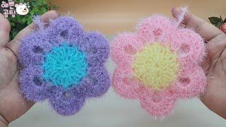 [수세미코바늘]심플리 평면 수세미뜨기 Crochet Dish Scrubby