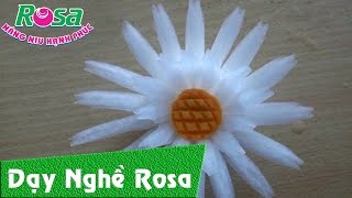 Cắt tỉa hoa quả: mẫu hoa cúc từ củ cải trắng