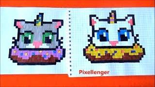 Кот Единорог в Пончике Как рисовать по клеточкам Cat Unicorn in Donut How to Draw Pixel Art