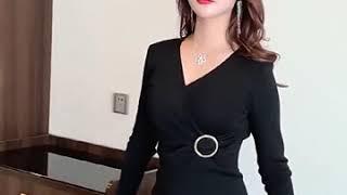 여성 브이넥 니트 섹시 원피스 홀복 클럽의상 섹시 정장…
