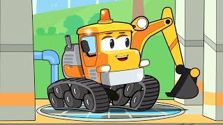 Экскаватор и новые друзья на автомойке - Строительные машинки для детей - Врум-Врум