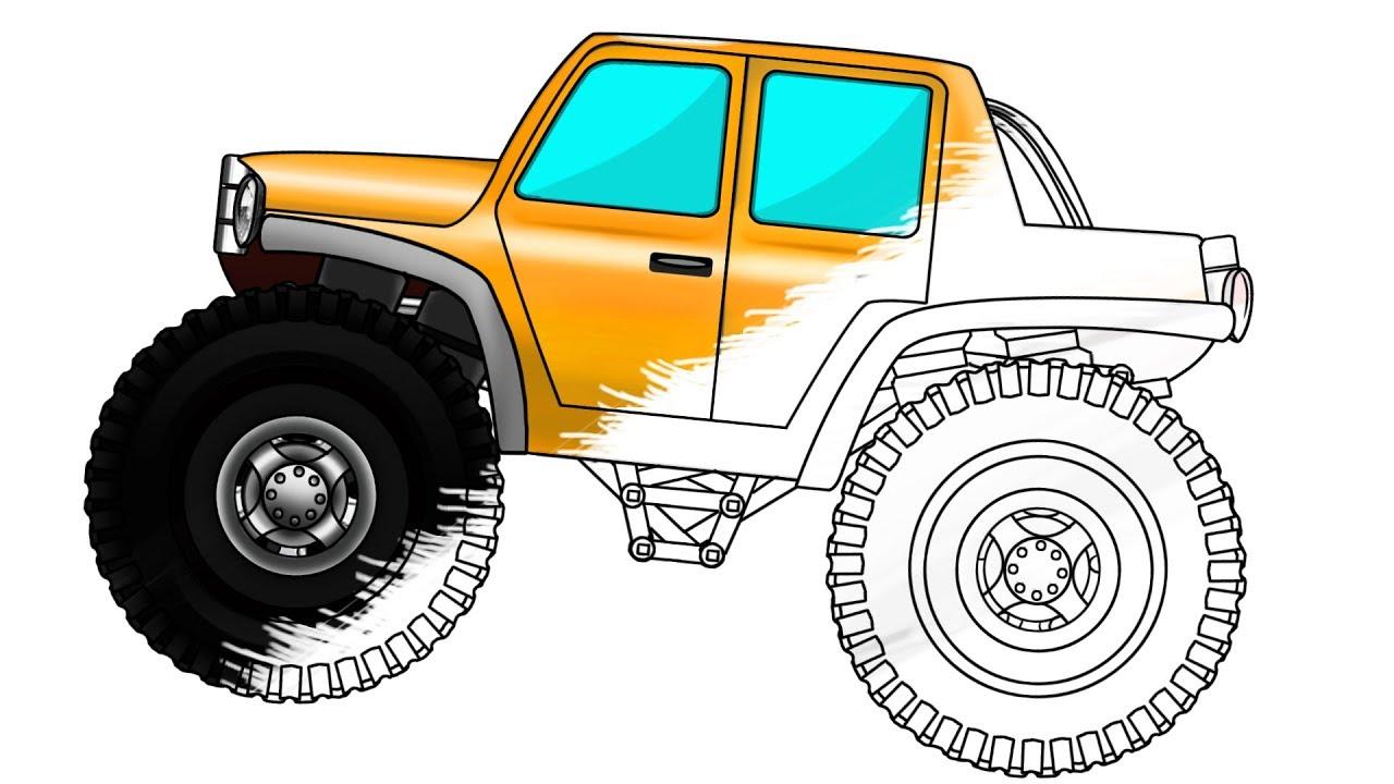 - Monster Truck Coloring Book Big Truck Cartoon - YouTube