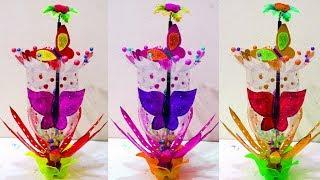 DIY Flower Vase Made With Recycled Plastic Bottle - Plastic Bottle Vase Design - Best Out of Waste