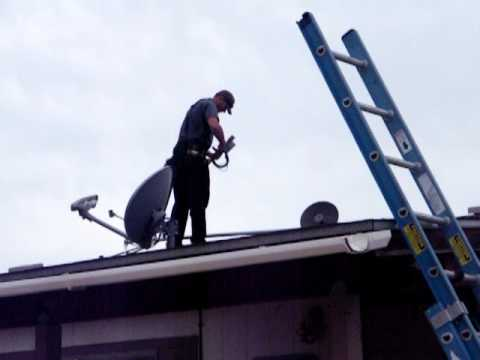 Putting the survey equipment on the roof