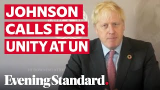 Boris Johnson calls for unity amid global pandemic at the UN General Assembly