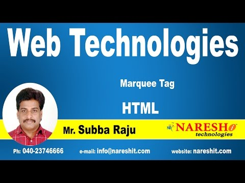 HTML Marquee Tag, Pre Tag | Web Technologies Tutorial | Mr.Subbaraju