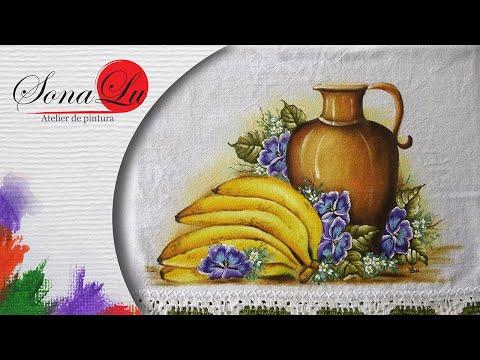 Banana, Jarro e Amor Perfeito em Tecido (Aula 64)