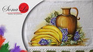 Banana, Jarro e Amor Perfeito em Tecido – Sonalupinturas