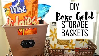 DIY Dollar Tree Storage Containers I Rose Gold Storage totes #DIY #Storagecontainers