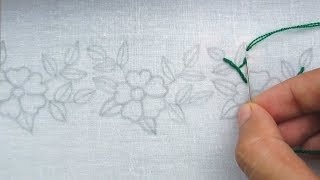 Hand Embroidery, Easy Border Line Embroidery Tutorial, New Border Design