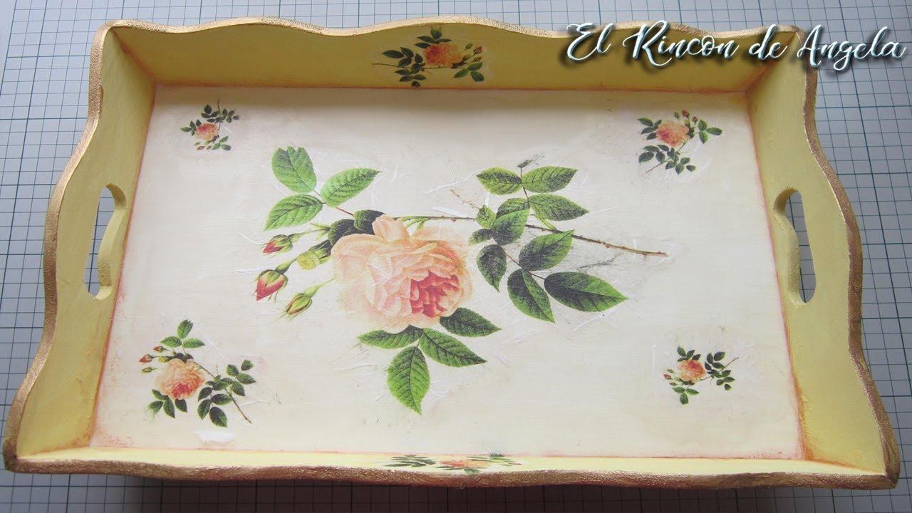 Bandeja de madera decorada con decoupage y papel de arroz - Papel decoupage infantil ...
