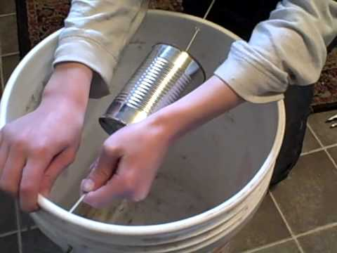 Making a 5 gal. bucket mouse trap.