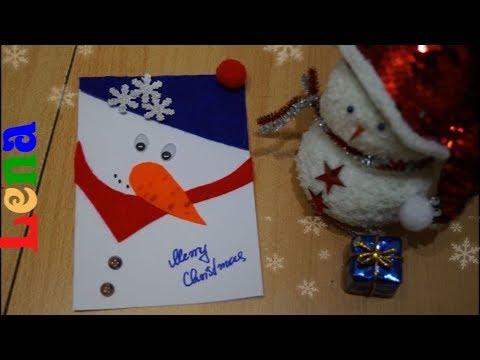Schneemann Weihnachtskarte Basteln How To Make Snowman Christmas Card открытка на новый год