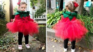 DIY Новогодний костюм ягодки на елку и Halloween  | DIY пышная юбка -пачка для девочки