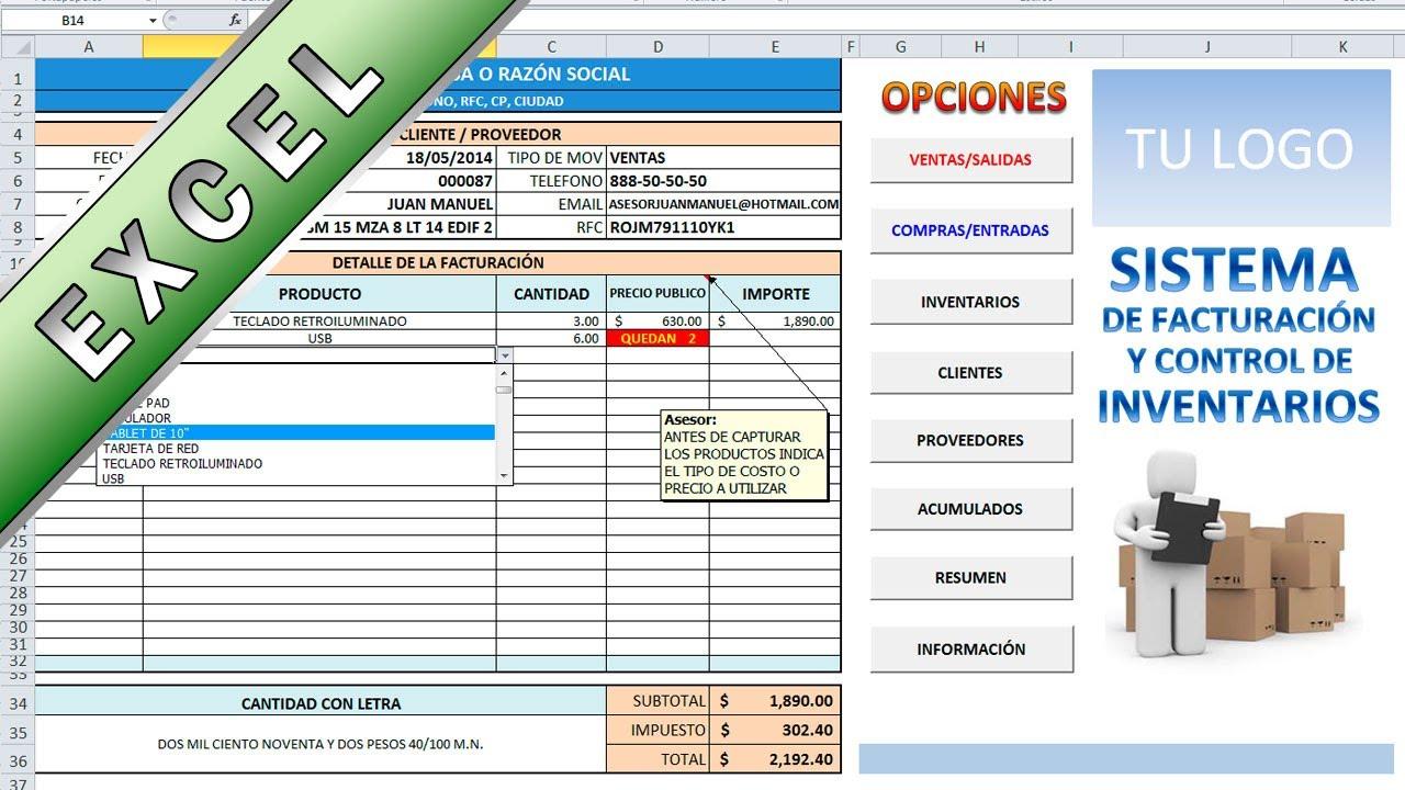 2ccfe6eb6 Sistema para control de inventarios en excel - Asesor Juan Manuel - YouTube