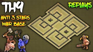 TH9(Town hall 9) Anti 3 Stars War Base w/ Replay Proofs | Anti Lavaloon/Hogs/Bowler Clash of Clans