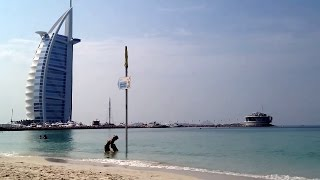 Burj Al Arab from Jumeirah public beach Dubai UAE
