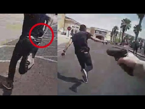 Police shooting in Las Vegas after robbery suspect runs, reaches for gun