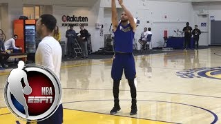 Stephen Curry shoots free throws during first practice back from injury   NBA on ESPN