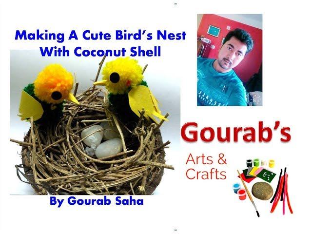 How to Make Birds Nest Craft Using Coconut Shell | DIY Birds Nest Home Décor Craft | Easy Bird Nest