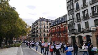 """Manifestación del sector hostelero en Pamplona para reclamar un """"rescate inmediato y real"""""""