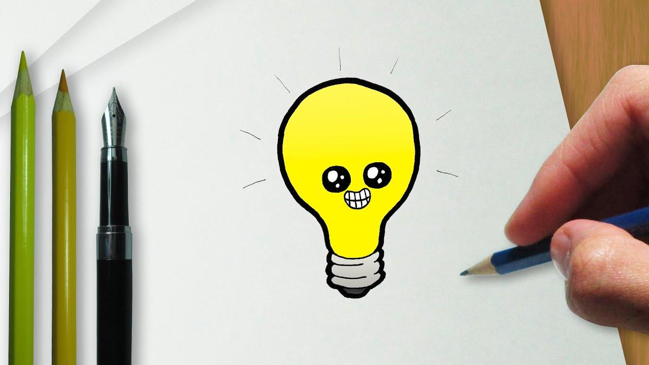 Como Desenhar Uma L 226 Mpada Kawaii Youtube