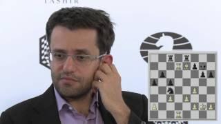 Round 6 Aronian without Nakamura analyses their game   Candidates tournament 2016