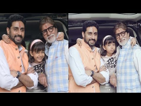Aishwarya Rai's daughter Aaradhya Bachchan Cute Moment with Abhishek & Amitabh Bachchan