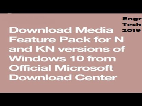 How To Download And Install Media Features Pack In Windows 10 May 2019