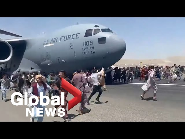 Afghanistan crisis: Desperate locals cling to side of US Air Force plane taking off from Kabul