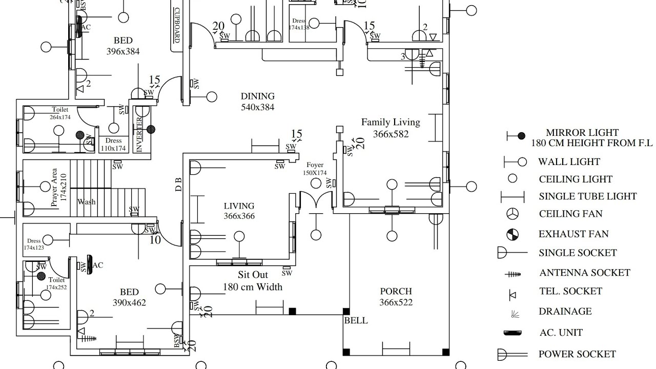 Electrical Drawing layout for residential building - YouTubeYouTube