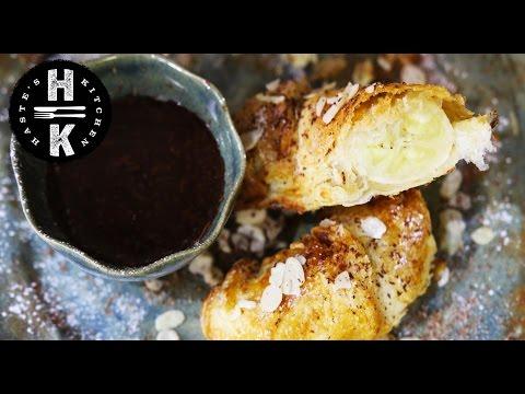 Healthy fried banana with dark chocolate sauce #Ad
