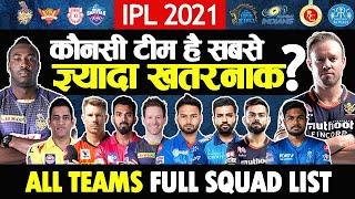 IPL 2021   All Teams Full Squad Players List   CSK, MI, KKR, RCB, DC, RR, PBKS, SRH Complete List