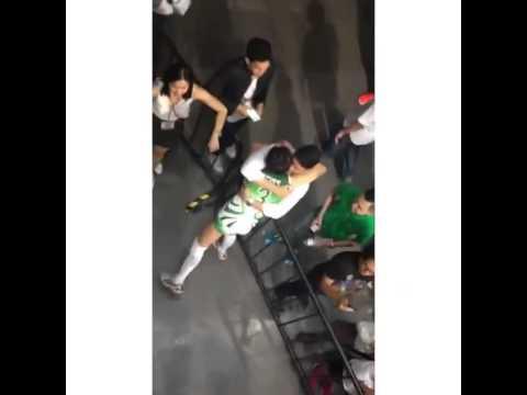 Kiefer Ravena gives Mika Reyes a hug after the game # ...