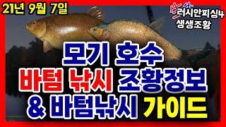 러시안피싱4│210907 모기 호수 바텀 낚시 조황정보…