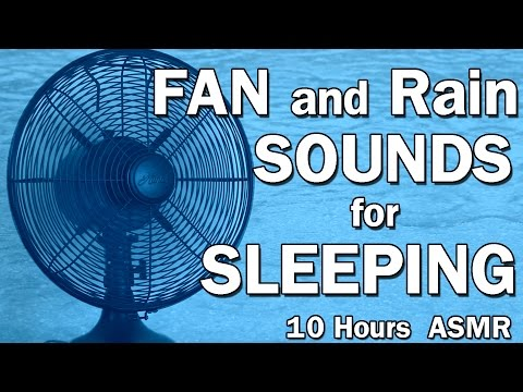 Fan and Rain White Noise Sounds for Sleeping ASMR 10 Hours Black Screen