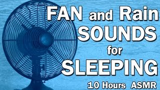 Gambar cover Fan and Rain White Noise Sounds for Sleeping ASMR 10 Hours Black Screen