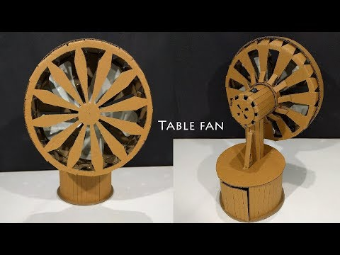 DIY Table Fan , How to make a Cardboard Table Fan | battery powered