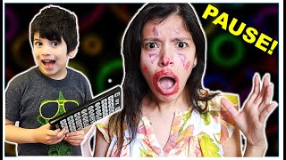 PAUSE REMOTE in REAL LIFE!  Hilarious pranks  Family YouTube channel
